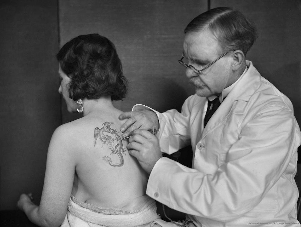 Charles Burchett Tattooing a Woman's Back, Waterloo Road, London, 1931