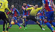 Mile jedinak looks to break through during the Barclays Premier League match between Crystal Palace and Watford at Selhurst Park, London, England on 13 February 2016. Photo by Michael Hulf.