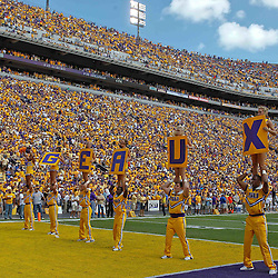 October 8, 2011; Baton Rouge, LA, USA; LSU Tigers cheerleaders perform prior to kickoff of a game against the Florida Gators at Tiger Stadium.  Mandatory Credit: Derick E. Hingle-US PRESSWIRE / © Derick E. Hingle 2011