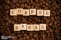 Coffee Break spelled on Woddden Blocks