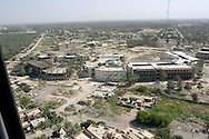 """Baghdad as seen from a Blackhawk helicopter taxi between Baghdad airport and the """"Green Zone"""" in Baghdad."""
