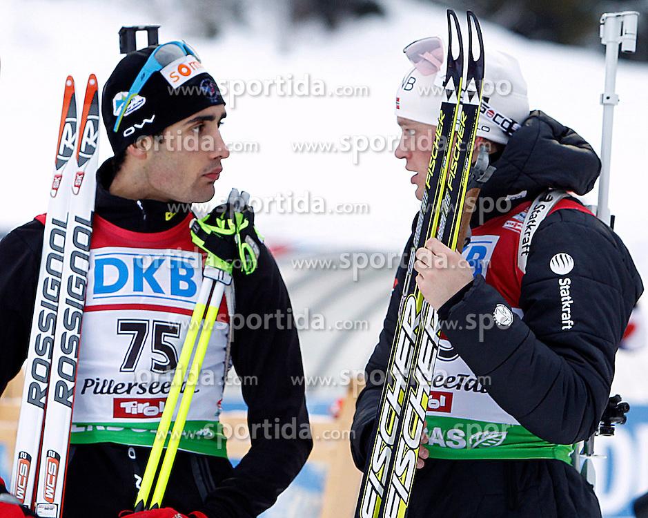 15.12.2011, Biathlonzentrum, Hochfilzen, AUT, E.ON IBU Weltcup, 3. Biathlon, Hochfilzen, Sprint Maenner, im Bild Martin Fourcade (FRA) und Tarjei Boe (NOR) // during Sprint men E.ON IBU World Cup 3th Biathlon, Hochfilzen, Austria on 2011/12/15. EXPA Pictures © 2011, PhotoCredit: EXPA/ Oskar Hoeher