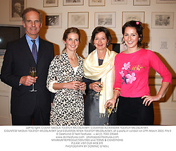 Left to right, COUNT NIKOLAI TOLSTOY-MILOSLAVSKY, COUNTESS ALEXANDRA TOLSTOY-MILOSLAVSKY, COUNTESS NIKOLAI TOLSTOY-MILOSLAVSKY and COUNTESS XENIA TOLSTOY-MILOSLAVSKY, at a party in London on 27th March 2003.PIN 5