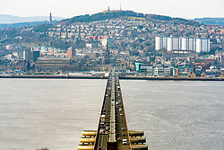 View over city of Dundee from the Tay Road Bridge in Tayside, Scotland, United Kingdom