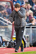 Heart of Midlothian manager Daniel Stendel in the technical area during the Ladbrokes Scottish Premiership match between Heart of Midlothian FC and Aberdeen FC at Tynecastle Stadium, Edinburgh, Scotland on 29 December 2019.