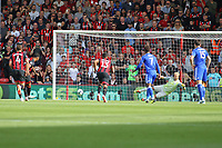 Football - 2018 / 2019 Premier League - AFC Bournemouth vs. Leicester City<br /> <br /> Bournemouth's Joshua King sends Kasper Schmeichel of Leicester City the wrong way to score from the penalty spot at the Vitality Stadium (Dean Court) Bournemouth <br /> <br /> COLORSPORT/SHAUN BOGGUST