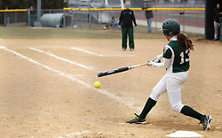 30 March 2013:  Allie Riordan during an NCAA Division III women's softball game between the DePauw Tigers and the Illinois Wesleyan Titans in Bloomington IL