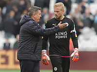 Football - 2016 / 2017 Premier League - West Ham United vs. Leicester city<br /> <br /> Leicester city caretaker Manager Craig Shakespeare with Kasper Schmeichel after the match at The London Stadium.<br /> <br /> <br /> Norway only