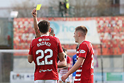 Hamilton Accademical midfielder Tony Andreu (22) gets Yellow Card from Referee Nick Walsh during the Ladbrokes Scottish Premiership match between Hamilton Academical FC and Rangers at New Douglas Park, Hamilton, Scotland on 24 February 2019.