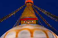 The Boudhanath Stupa which contains the Eyes of Buddha, which symbolizes Buddha as all seeing. The Boudhanath Temple is the  largest stupa in Nepal and the holiest Tibetan Buddhist temple outside Tibet. It is the center of Tibetan culture in Kathmandu, Nepal.