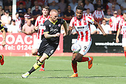Mark Connolly and Manny Duku during the EFL Sky Bet League 2 match between Cheltenham Town and Crawley Town at LCI Rail Stadium, Cheltenham, England on 4 August 2018. Picture by Antony Thompson.