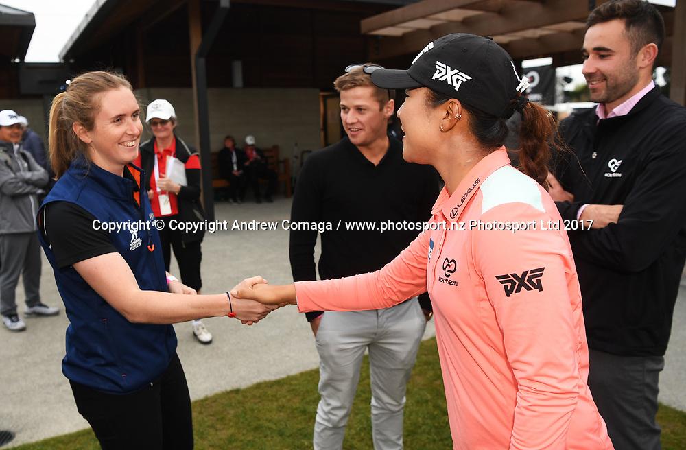 Anna Peterson meets Anna Peterson.<br /> Round 2. McKayson NZ Women's Open 2017. LPGA Tour. Windross Farm, Auckland, New Zealand. Friday 29 September 2017. &copy; Copyright Photo: Andrew Cornaga / www.photosport.nz