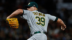 SAN FRANCISCO, CA - AUGUST 13: Blake Treinen #39 of the Oakland Athletics pitches against the San Francisco Giants during the eighth inning at Oracle Park on August 13, 2019 in San Francisco, California. The San Francisco Giants defeated the Oakland Athletics 3-2. (Photo by Jason O. Watson/Getty Images) *** Local Caption *** Blake Treinen
