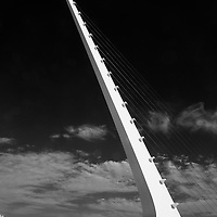 Infrared rendition of the Sundial Bridge at Turtle Bay in Redding, Shasta County, California