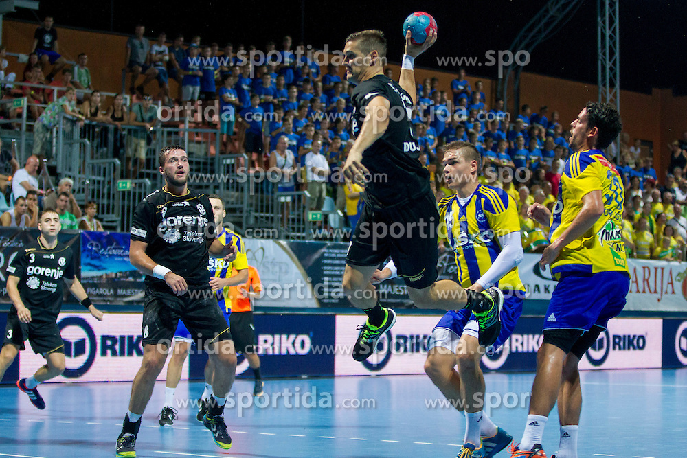 during handball match between RK Celje Pivovarna Lasko vs RK Gorenje Velenje of Super Cup 2015, on August 29, 2015 in SRC Marina, Portoroz / Portorose, Slovenia. Photo by Urban Urbanc / Sportida