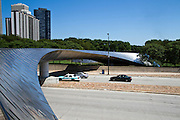 USA, IL, Chicago, Millennium Park, BP Pedestrian Bridge (BP Bridge), built in 2004 by Frank Gehry