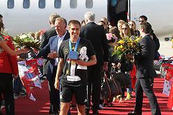 15.07.2014, Flughafen, München, GER, FIFA WM, Empfang der Weltmeister in Deutschland, Finale, im Bild Philipp Lahm #16 (Deutschland) kommt aus der Maschine // during Celebration of Team Germany for Champion of the FIFA Worldcup Brazil 2014 at the Flughafen in München, Germany on 2014/07/15. EXPA Pictures © 2014, PhotoCredit: EXPA/ Eibner-Pressefoto/ Kolbert<br /> <br /> *****ATTENTION - OUT of GER*****