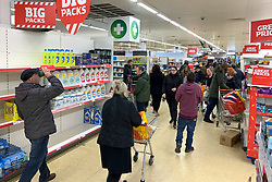 © Licensed to London News Pictures. 14/03/2020. Langley, UK. A bust supermarket shortly after opening at 7am at Sainsbury's on Ladbroke Grove in west London. New cases of the COVID-19 strain of Coronavirus are being reported daily as the government outlines it's plans for delaying the outbreak. Photo credit: Ben Cawthra/LNP