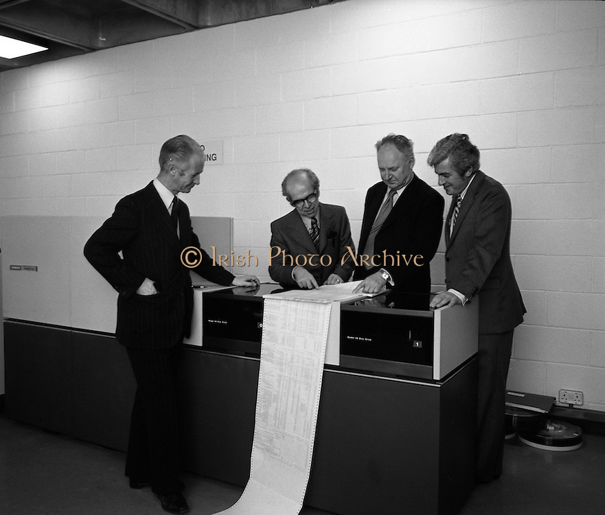 New Singer Computer At U.C.D.    (J85)..1975..29.10.1975..10.29.1975..29th October 1975..A Singer System 10 computer which was installed in the Faculty of Commerce in University College Dublin,(U.C.D.), was offically handed over today. The computer will be used by graduate and post graduate students at the university. The college is at Belfield,Dublin..Pictured at the official hand over of the new computer were, (L-R), Professor M J McCormac, Dean, Faculty of Commerce, Professor Denis McConalogue,Professor of Computer Science, Dr Thomas Murphy, President,U.C.D. and Mr Michael McMahon,Regional Director for Ireland,Singer Business machines.