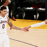 25 December 2017: Los Angeles Lakers forward Kyle Kuzma (0) is congratulated by Los Angeles Lakers guard Josh Hart (5) during the Minnesota Timberwolves 121-104 victory over the LA Lakers, at the Staples Center, Los Angeles, California, USA.