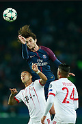 Paris Saint Germain's French midfielder Adrien Rabiot heads the ball during the UEFA Champions League, Group B football match between Paris Saint-Germain and Bayern Munich on September 27, 2017 at the Parc des Princes stadium in Paris, France - Photo Benjamin Cremel / ProSportsImages / DPPI