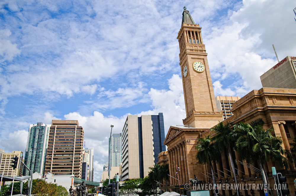 Tower of Brisbane City Hall and city skyline