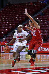 01 January 2017: Brechelle Beachum defended by Leti Lerma during an NCAA Missouri Valley Conference Women's Basketball game between Illinois State University Redbirds the Braves of Bradley at Redbird Arena in Normal Illinois.