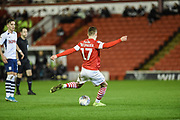 Marcel Ritzmaier (17) of Barnsley FC with a shot at goal during the EFL Sky Bet Championship match between Barnsley and Preston North End at Oakwell, Barnsley, England on 21 January 2020.
