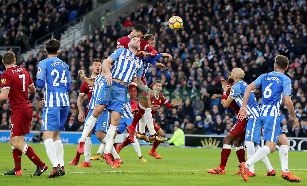 "Liverpool's Emre Can heads home his side's first goal during the Premier League match at the AMEX Stadium, Brighton. PRESS ASSOCIATION Photo Picture date: Saturday December 2, 2017. See PA story SOCCER Brighton. Photo credit should read: Gareth Fuller/PA Wire. RESTRICTIONS: EDITORIAL USE ONLY No use with unauthorised audio, video, data, fixture lists, club/league logos or ""live"" services. Online in-match use limited to 75 images, no video emulation. No use in betting, games or single club/league/player publications."