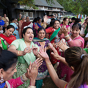 Teeyan Festival, Norwood Green / Southall, Greater London, UK, August 8, 2015.<br /> It's a day to have fun, a day for women and girls to feel proud and self confident. Women sing and dance, shout at other women as if they were husbands or in-laws, thereby getting rejuvenated for the next 11 months.
