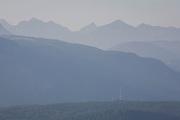 Radio mast and Geisler Dolomite mountain range in the distance, south Tyrol.