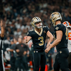 Sep 16, 2018; New Orleans, LA, USA; New Orleans Saints place kicker Wil Lutz (3) celebrates with long snapper Zach Wood (49) after a field goal against the Cleveland Browns during the first quarter of a game at the Mercedes-Benz Superdome. Mandatory Credit: Derick E. Hingle-USA TODAY Sports
