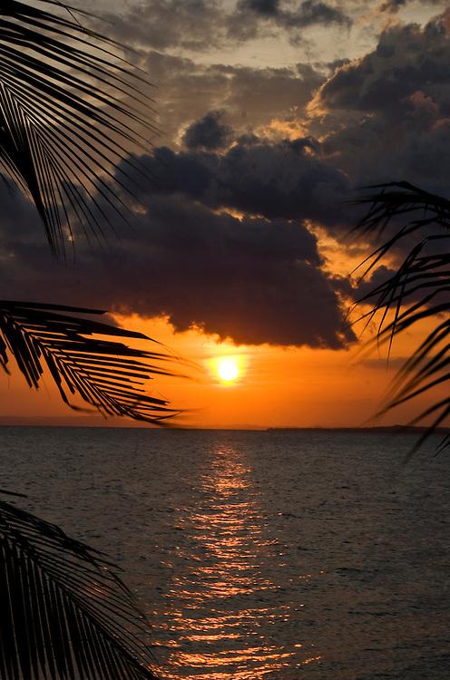 The sunset from the pier of Hacienda Merida on the southwest coast of Isla Ometepe, Nicaragua.