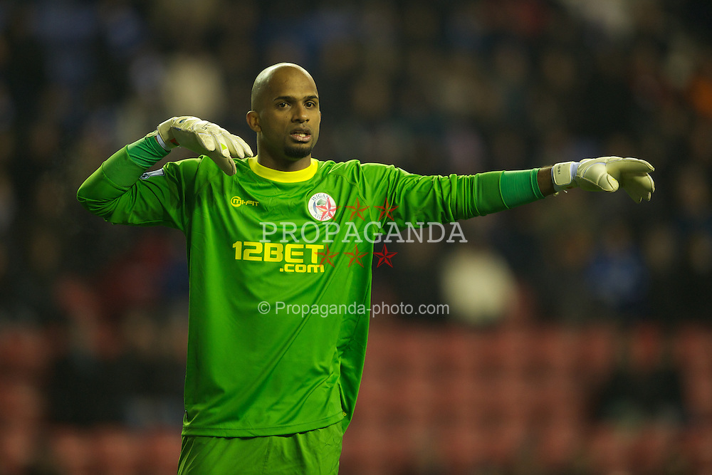 WIGAN, ENGLAND - Monday, January 16, 2011: Wigan Athletic's goalkeeper Ali Al Habsi in action against Manchester City during the Premiership match at the DW Stadium. (Pic by David Rawcliffe/Propaganda)