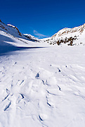 Windswept snow on Loch Leven in winter, Inyo National Forest, Sierra Nevada Mountains, California
