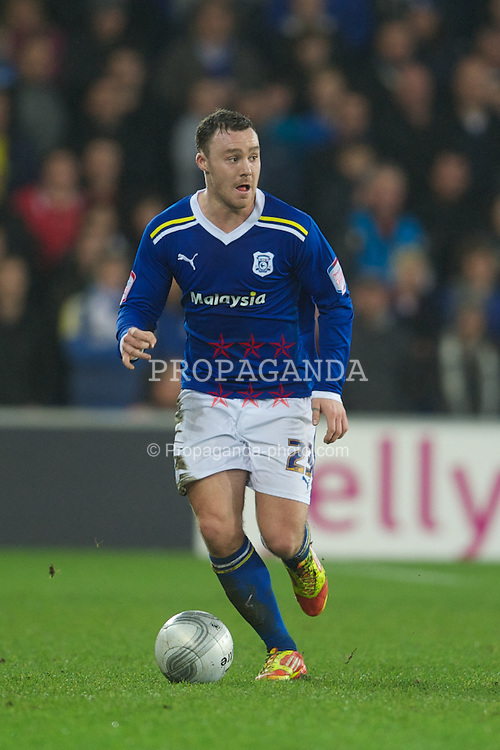 CARDIFF, WALES - Tuesday, January 24, 2012: Cardiff City's Darcy Blake in action against Crystal Palace during the Football League Cup Semi-Final 2nd Leg at the Cardiff City Stadium. (Pic by David Rawcliffe/Propaganda)