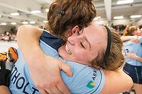 HAMBURG  (Ger) - Match 20,  for FINAL, LMHC Laren - Dinamo Elektrostal (Rus) (3-1).  Photo: European Champion , LMHC Laren. , Maxime Kerstholt (Laren) , Klaartje de Bruijn (Laren)  Eurohockey Indoor Club Cup 2019 Women . WORLDSPORTPICS COPYRIGHT  KOEN SUYK