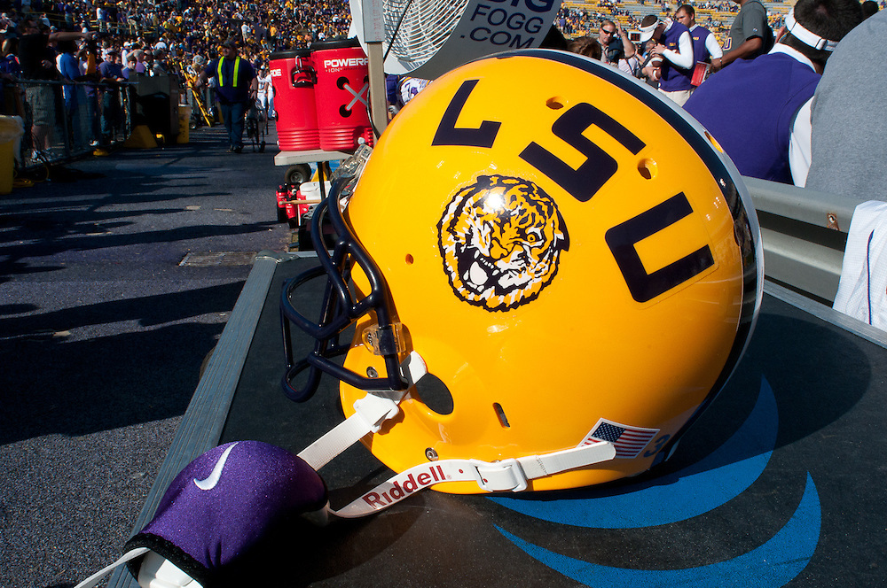 LSU Tigers Helmet on the field. LSU Tigers defeated Mississippi Rebels 43-36.
