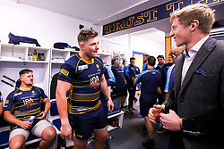 Ethan Waller of Worcester Warriors celebrates after beating Gloucester Rugby and securing Premiership Rugby status- Mandatory by-line: Robbie Stephenson/JMP - 28/04/2019 - RUGBY - Sixways Stadium - Worcester, England - Worcester Warriors v Gloucester Rugby - Gallagher Premiership Rugby