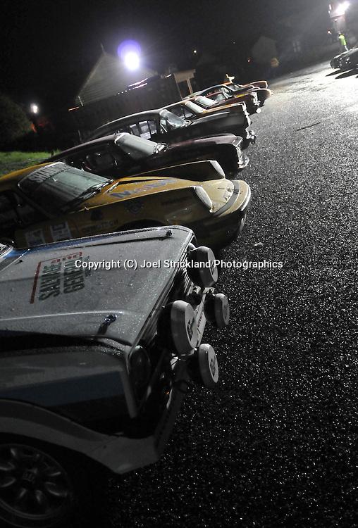 Strahan Overnight car park .Day 4.Targa Tasmania 2009.2nd of May 2009.(C) Joel Strickland Photographics.