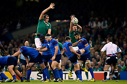 Sebastien Tillous-Borde of France box-kicks the ball - Mandatory byline: Patrick Khachfe/JMP - 07966 386802 - 11/10/2015 - RUGBY UNION - Millennium Stadium - Cardiff, Wales - France v Ireland - Rugby World Cup 2015 Pool D.
