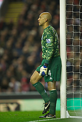 LIVERPOOL, ENGLAND - Tuesday, March 13, 2012: Everton's goalkeeper Tim Howard in action against Liverpool during the Premiership match at Anfield. (Pic by David Rawcliffe/Propaganda)