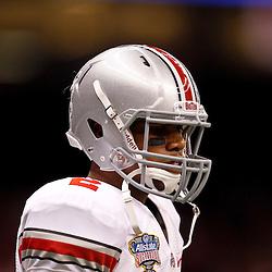 January 4, 2011; New Orleans, LA, USA;  Ohio State Buckeyes quarterback Terrelle Pryor (2) warms up prior to kickoff of the 2011 Sugar Bowl against the Arkansas Razorbacks at the Louisiana Superdome.  Mandatory Credit: Derick E. Hingle