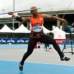 adidas Grand Prix Diamond League professional track & field meet: womens javelin throw, Kateema RIETTIE, Jamaica