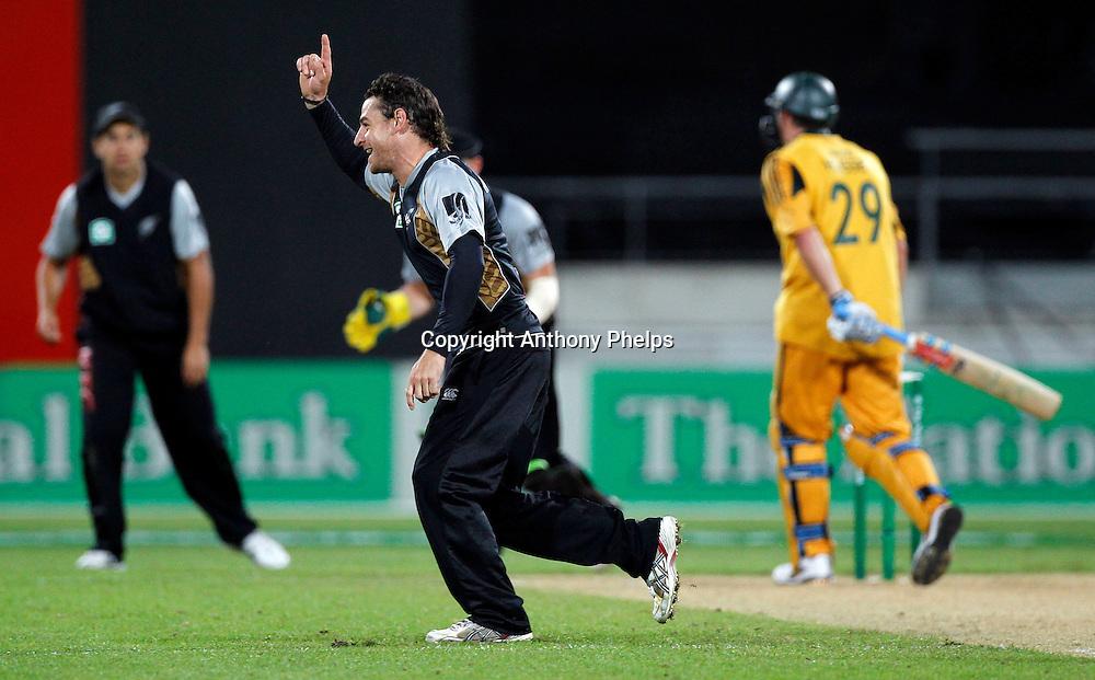 Nathan McCullum celebrates taking the wicket of David Hussey New Zealand v Australia Twenty20 cricket match. Westpac Stadium, Wellington. Friday 26 February 2010. Photo: Anthony Phelps/PHOTOSPORT