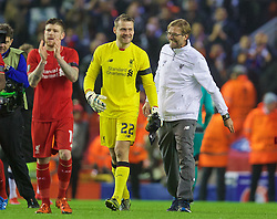LIVERPOOL, ENGLAND - Thursday, November 26, 2015: Liverpool's manager Jürgen Klopp celebrates with goalkeeper Simon Mignolet after the 2-1 victory over FC Girondins de Bordeaux during the UEFA Europa League Group Stage Group B match at Anfield. (Pic by David Rawcliffe/Propaganda)