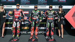 September 29, 2018 - 66, Tom Sykes, GBR, Kawasaki ZX-10RR, 01, Jonathan Rea, GBR, Kawasaki ZX-10RR, Kawasaki Racing Team WorldSBK, 32, Lorenzo Savadori, ITA, Aprilia RSV4 RF, Milwaukee Aprilia, SBK 2018, MOTO - SBK Magny-Cours Grand Prix 2018, SuperPole, 2018, Circuit de Nevers Magny-Cours, Acerbis French Round, France ,September 29 2018, action during the SBK SuperPole of the Acerbis French Round on September 29 2018 at Circuit de Nevers Magny-Cours, France (Credit Image: © AFP7 via ZUMA Wire)