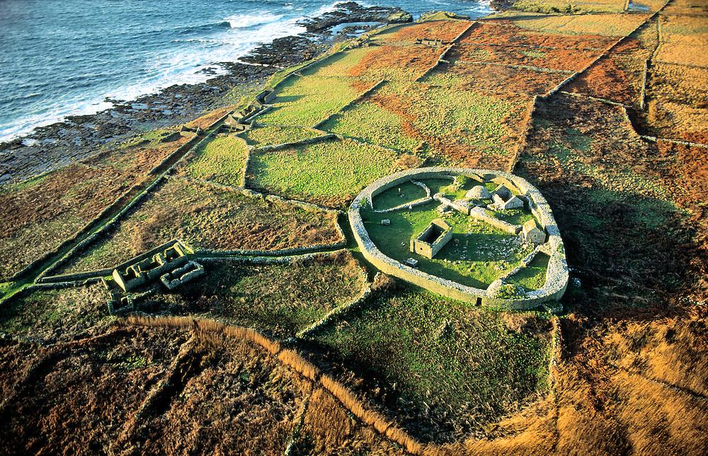 Inishmurray island, County Sligo, Ireland. Early Celtic Christian ring fort cashel monastic settlement and fisherman's cottage.