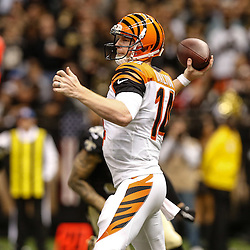 Nov 16, 2014; New Orleans, LA, USA; Cincinnati Bengals quarterback Andy Dalton (14) against the New Orleans Saints during the second half of a game at the Mercedes-Benz Superdome. The Bengals defeated the Saints 27-10. Mandatory Credit: Derick E. Hingle-USA TODAY Sports