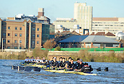 """London; GREAT BRITAIN; Oxford University Trial Eights for crew selection for 157th Boat Race Both crews in action, with Nurture taking a lead.  [April 2011]  raced over the Championship Course Putney to Mortlake  on the River Thames. Wednesday  08/12/2010   [Mandatory Credit; """"Photo, Peter Spurrier/Intersport-images].Crews.OUBC Nature; Surrey Station.Bow, Charlie AUER, 2. Tom WATSON, 3. Dan HARVEY, 4. David WHIFFIN, 5, Karl HUDSPITH, 6. Moritz HAFNER, 7. Ben MYERS, stroke. Constantine LOULOUDIS and cox Zoe DeTOLEDO...OUBC Nurture Middx Station [White Tops].Bow, George BLESSLEY, 2. Matt POINTING, 3. Alex WOODS, 4. Alex DENT, 5. Ben ELLISON,6. Simon HISLOP, 7. George WHITTAKER, Stroke Ben SNODIN and Cox Hannah LEADBETTER.."""